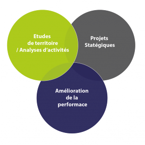 Schéma des 3 activités réalisées en stratégie et organisation