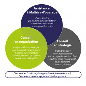 Schéma des 3 activités d'APSIS Santé : Assistance à Maîtrise d'ouvrage, organisation et stratégie